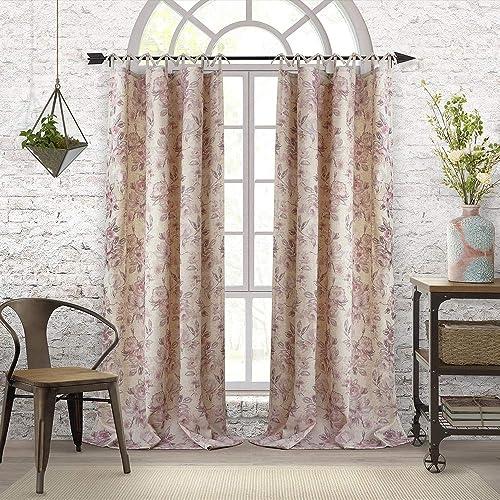 Elrene Home Fashions Annalise Floral Tie Top Room Darkening Linen Single Panel Window Curtain Drape