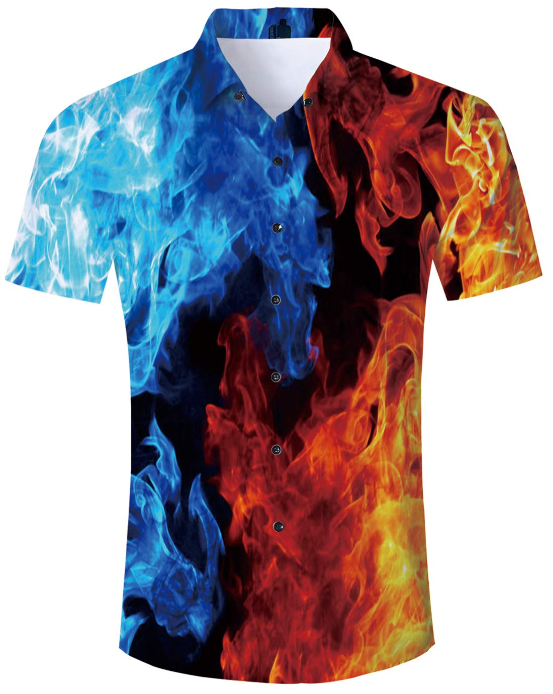 Youth Boys Hawaiian Style Shirts 90s Cute 3D Printed Blue Ice and Red Fire Aloha Luau Clothes Cool Tropical Dress Casual Button Down Short Sleeve Apparel for Birthday Party