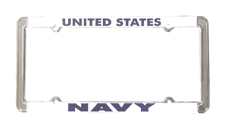 License plate frame United States Navy Chrome Raised Blue Letters Over White Ramson/'s Imports MF1038NAV