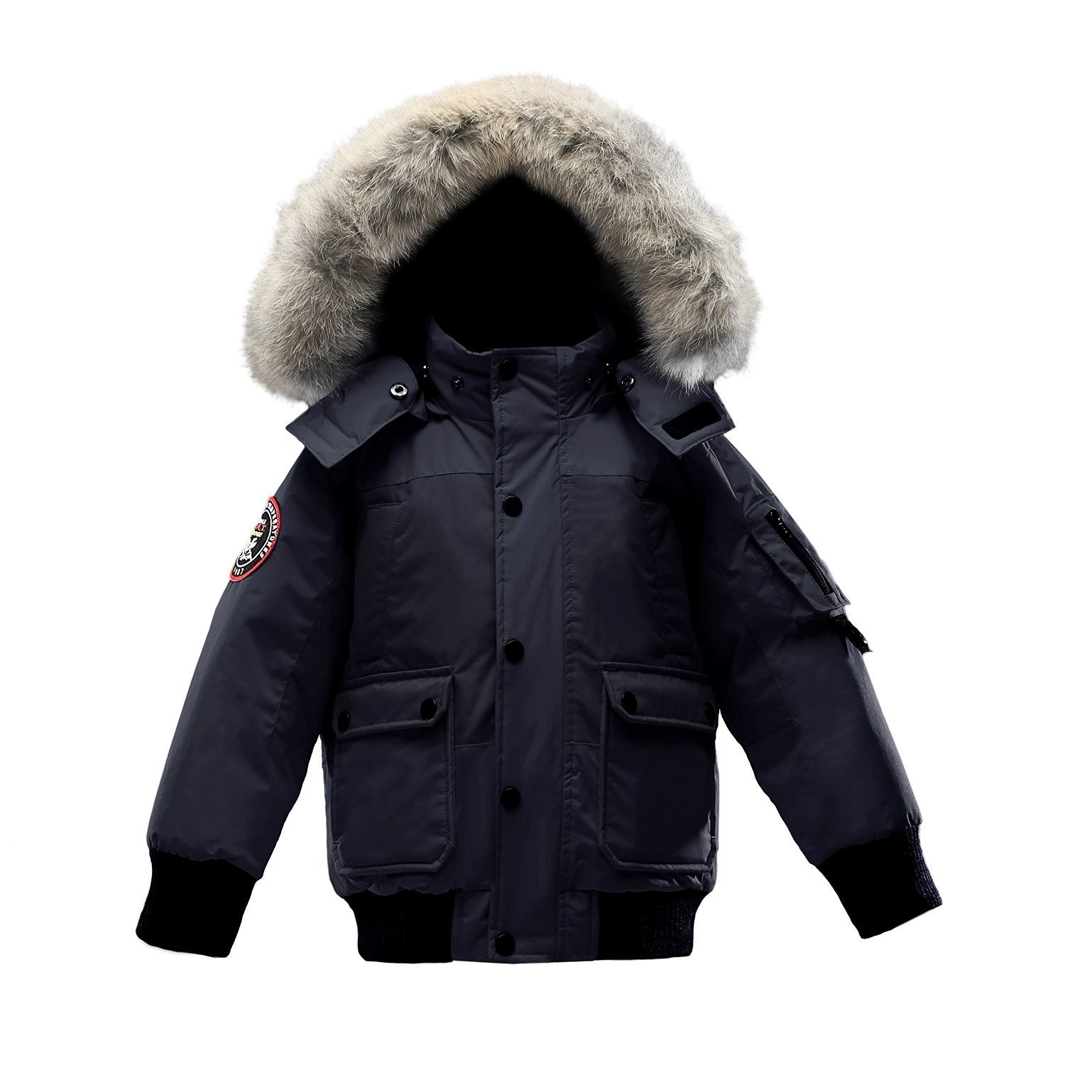 Triple F.A.T. Goose Grinnell Boys Down Jacket With Real Coyote Fur (12/14, Navy) by Triple F.A.T. Goose