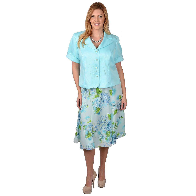 61b16af9f0001 Amazon.com: Danny & Nicole Plus Size 2pc Jacket and Skirt Set: Clothing