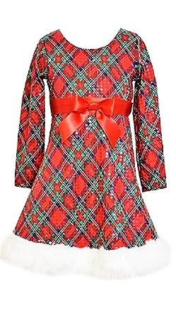 bonnie jean little girls plaid santa christmas dress redgreen - Girls Plaid Christmas Dress
