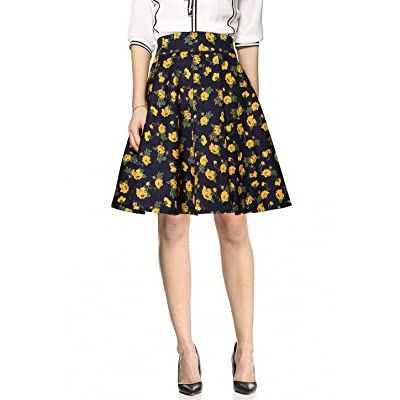 Allegra K Women's Floral Print Casual Above Knee Vintage Skirts