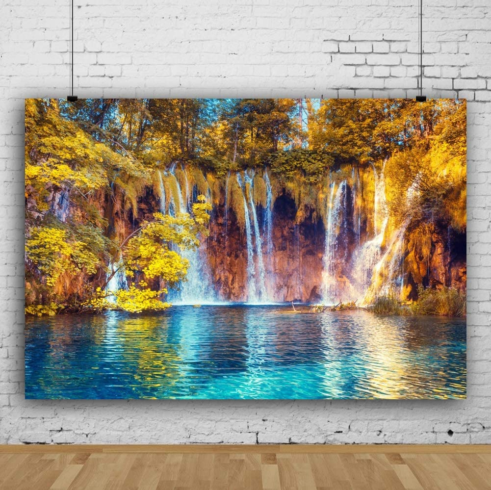 CSFOTO 10x8ft Autumn Scenery Backdrop Waterfall Background for Photography Wedding Themed Party Backdrop Natural Scenery Golden Trees Mountain Interior Decor Adults Portraits Wallpaper