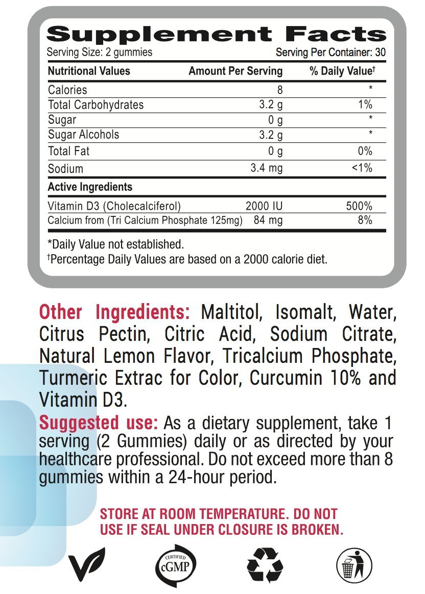 Amazon.com: The Gummy Fix, Vitamin D3 with Calcium Most Popular Sugar Free Supplement. Available in Gummies for Adults. Made in the USA Easy to Chew, ...