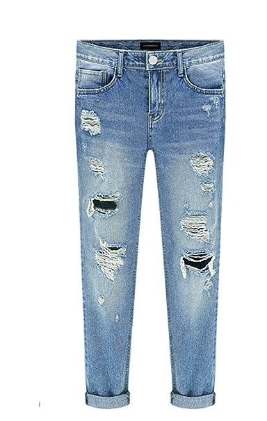 e581a80d827a TieNew Donna Pantaloni Larghi Denim Jeans Sigaretta pantalonia Vita Alta  Baggy Jeans Strappati