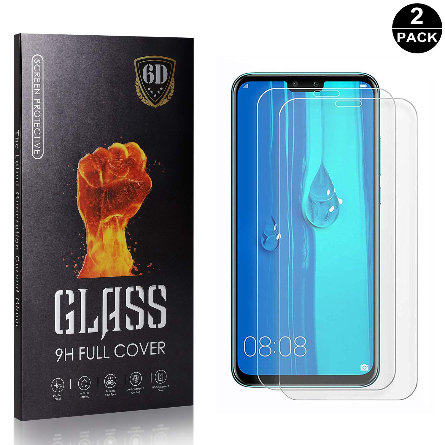 Easy Installation Bear Village Huawei Y9 2019 Tempered Glass Screen Protector 2 Pack Anti Fingerprint 9H Hardness Screen Protector Film for Huawei Y9 2019