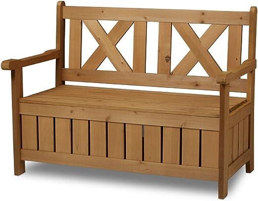 SSITG - Banco baúl, banco de jardín, baúl de jardín, banco de madera con espacio de almacenamiento: Amazon.es: Jardín