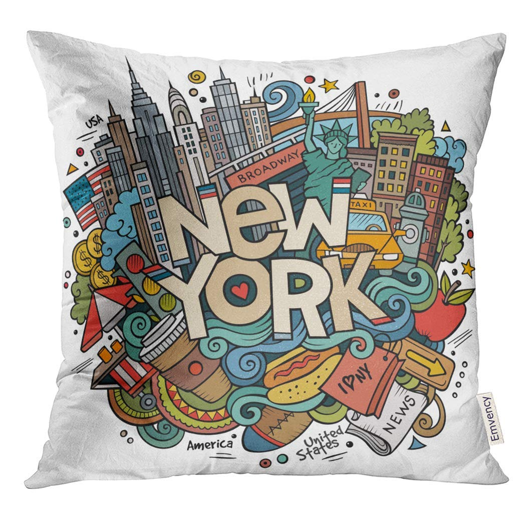 Throw Pillow Cover Cartoon Cute Doodles New York Inscription Colorful with American Items Line Detailed with Lots of Objects Decorative Pillow Case Home Decor Square 18x18 Inches Pillowcase