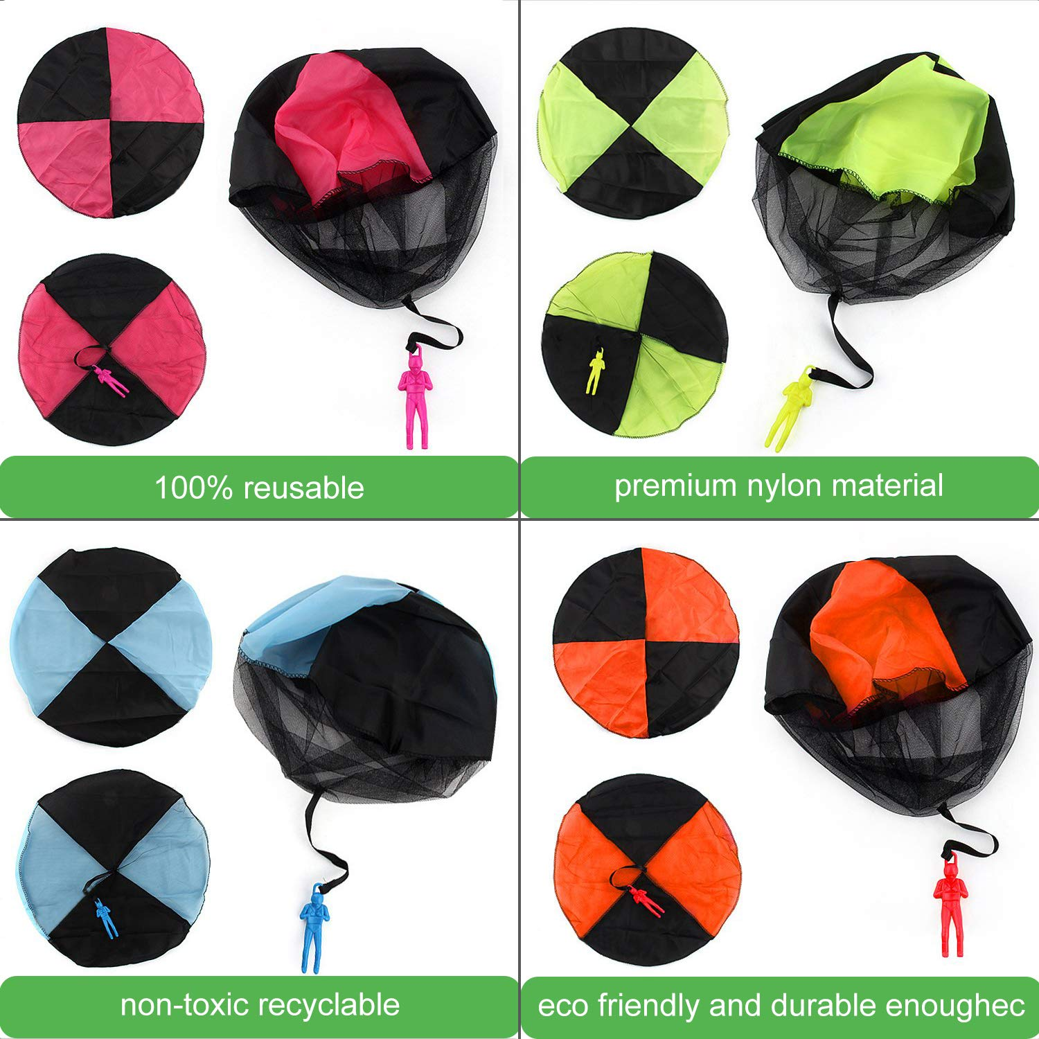 Camlinbo Parachute Toy-8 Pack Tangle Free Throwing Hand Throw Soldiers Parachute Man, Outdoor Children's Flying Toys for Kids Boys Girls Toddler No Battery nor Assembly Required by Camlinbo (Image #7)