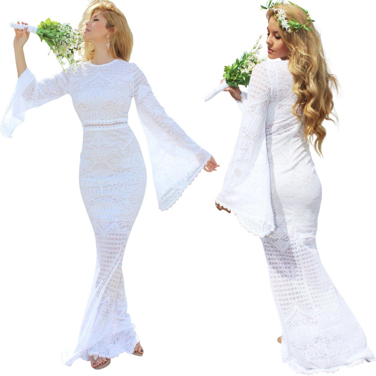 0a420b151f18 Boho Gypsy Wedding Dress| Vintage Angel Bell Sleeve Goddess Bridal Dress |  USA Made Casual Beach Wedding Dress at Amazon Women's Clothing store: