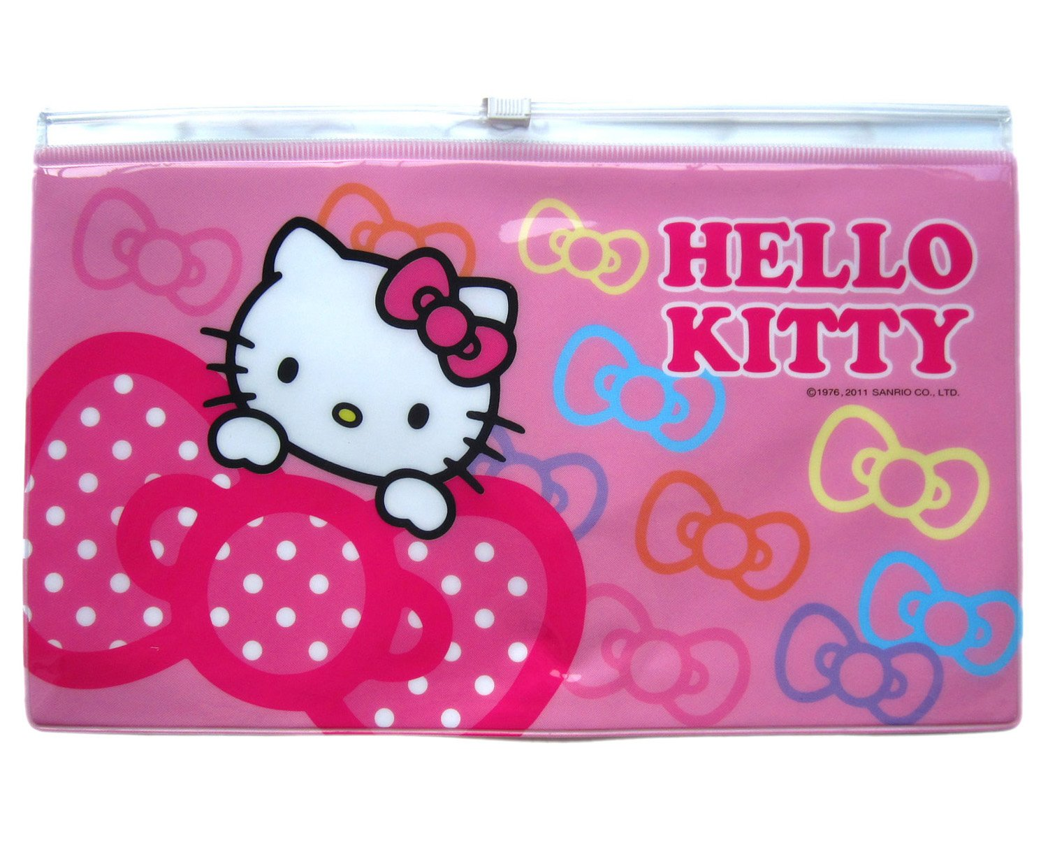 a939a5e006 Amazon.com  Pink Hello Kitty and Bows Zip Lock Pencil Pouch Cosmetic Bag   Beauty