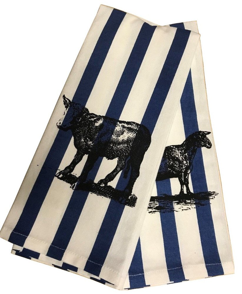 India Overseas Colonial Williamsburg Collection Heirloom Calf and Sheep Set 2pc Kitchen Towels
