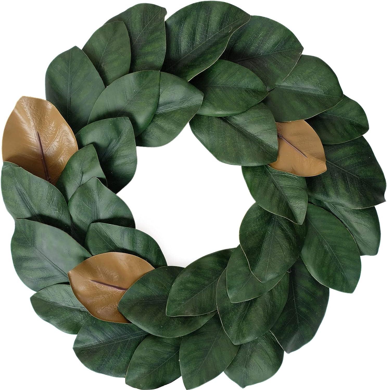 Idyllic Flora Wreath, Artificial Magnolia Leaf Grapevine Wreath, 17 Inches for Wedding Wall Decoration