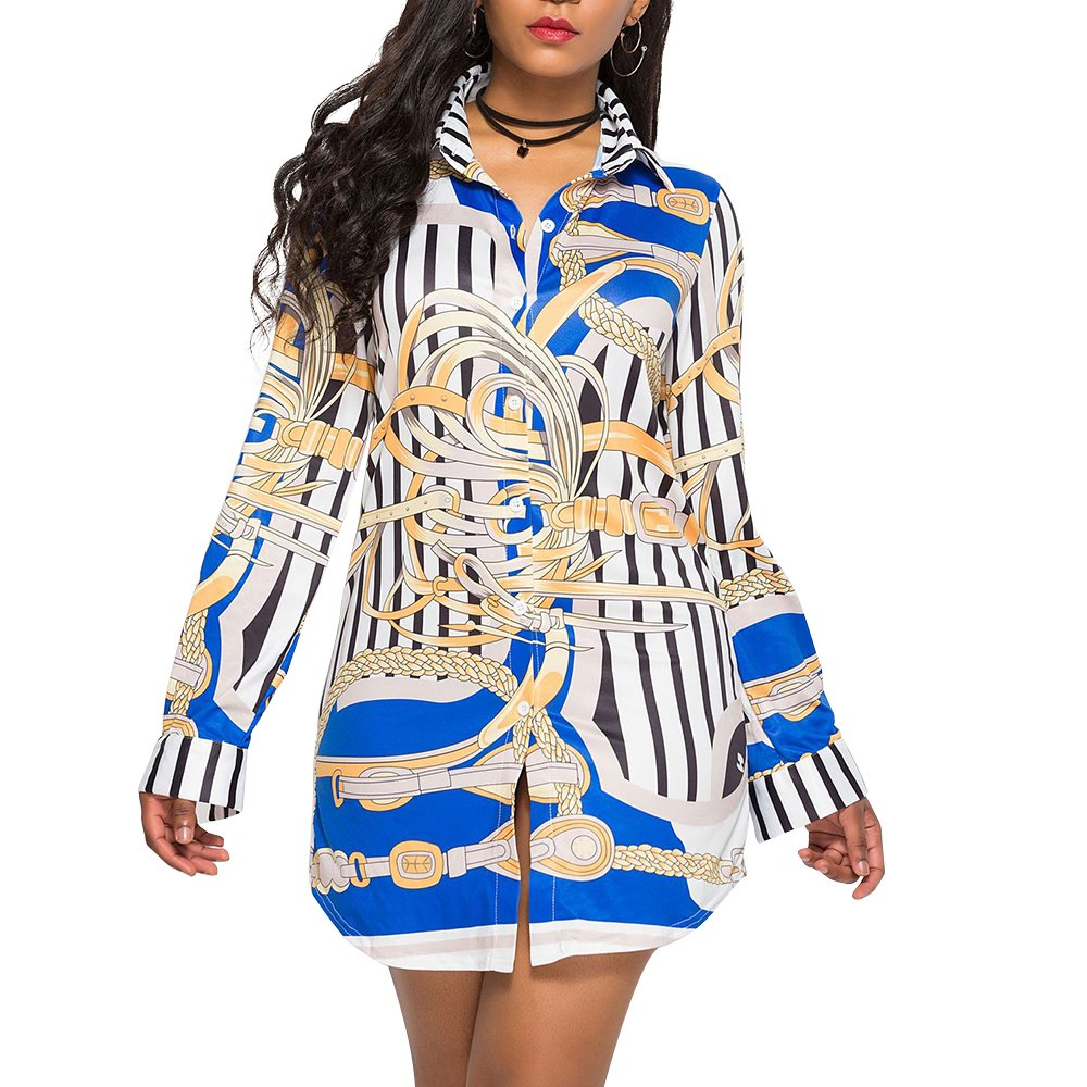 Pattern 5 Women Printed Long Sleeve Button up V Neck Collar T Shirt Fitted Long Blouse Dress Top