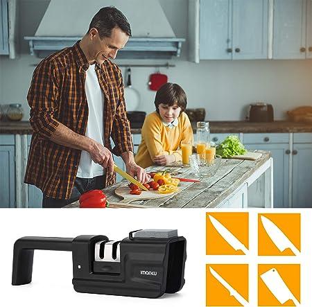imarku Afilador de Cuchillos Profesional con Piedra de afilar y Base Antideslizante, Plegable para afilar Cuchillos de Cocina (MDQ*A)