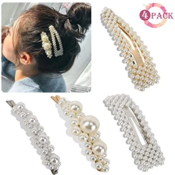 e86d0cdaf7c7d Pearl Hair Clips - Womens Hair Pins Elegant Gold Hair Barrettes Styling  Tools Birthday Wedding Parties