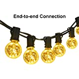 Classyke G40 Globe String Lights 25 Feet Linkable Indoor Outdoor Lights 25 LED Light Bulbs Energy Efficiency for Patio Cafe Bistro Deck Party Wedding Gazebo Backyard [UL Listed]- Warm White