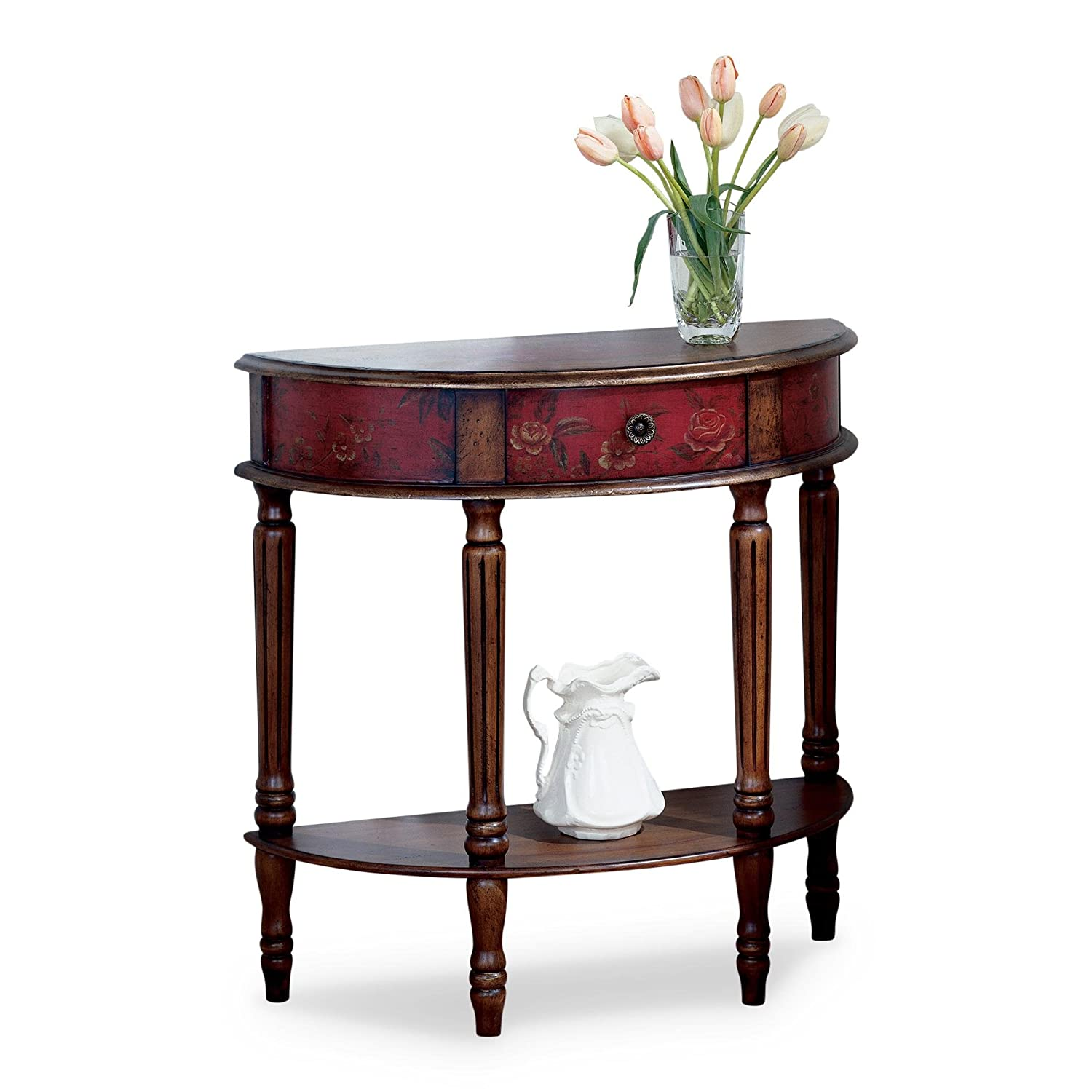 Sensational Amazon Com Butler Mozart Red Hand Painted Demilune Console Home Interior And Landscaping Dextoversignezvosmurscom