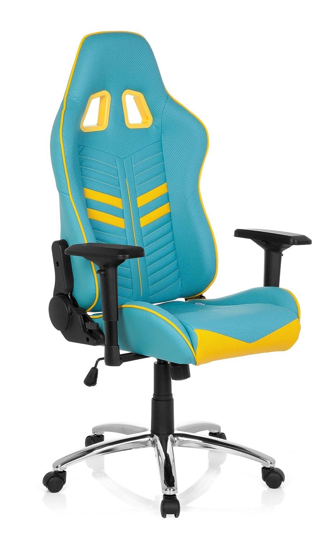 hjh OFFICE 729230 Silla Gaming League Pro Piel sintética Azul/Amarillo Silla Escritorio: Amazon.es: Hogar