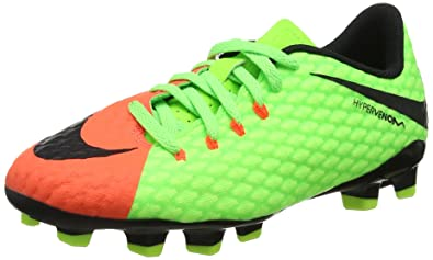 7c34d540069 Nike Junior Hypervenom Phelon III Fg Firmground soccer cleats-Electric  Green Size  1.5Y