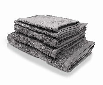 Wash Monkey - Toallas de baño (100% algodón, 5 Unidades), Color Gris Claro: Amazon.es: Hogar