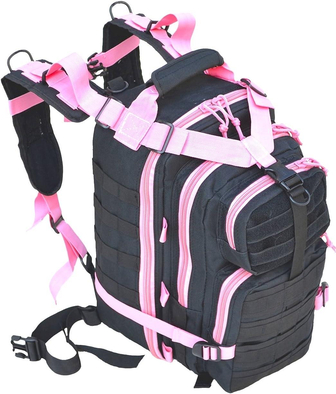 Explorer Tactical 72 Hours Combat Rucksack 17 Inch Backpack-Black with Pick Stripes