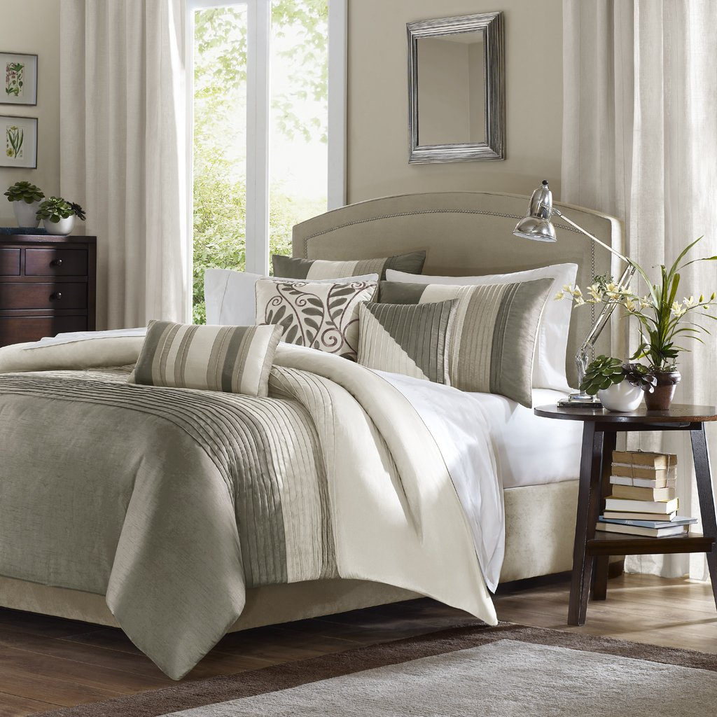 Madison Park Amherst Duvet Cover Full/Queen Size - Khaki, Ivory, Pieced Stripes Duvet Cover Set – 6 Piece – Ultra Soft Microfiber Light Weight Bed Comforter Covers