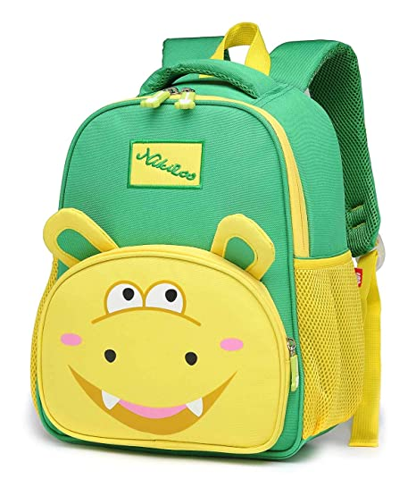 668854abc048 Elementary School Backpkack for Teen Girls Boys Kids Cute Polyester Student  Bookbags Green Hippo Pattern