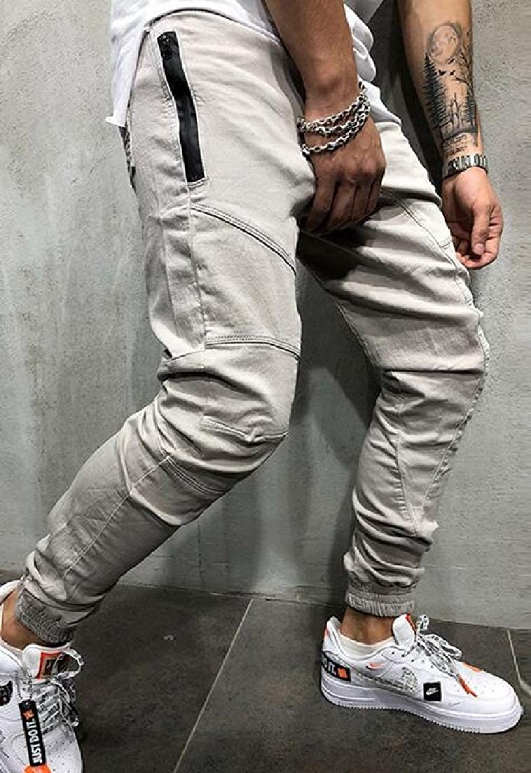 X-Future Mens Sport Casual Multi Pockets Fitness Solid Cargo Jogger Pants Trousers