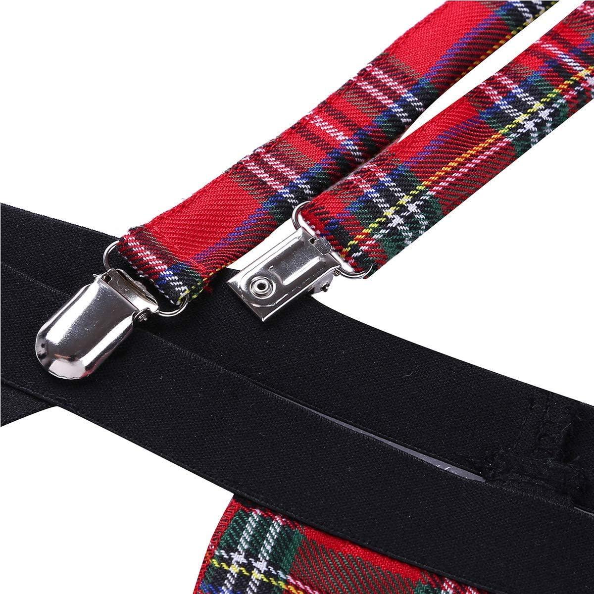 YiZYiF Mens Jock Strap Sissy Pouch G String Red Plaid Skirt Underwear Bodysuit with Suspender