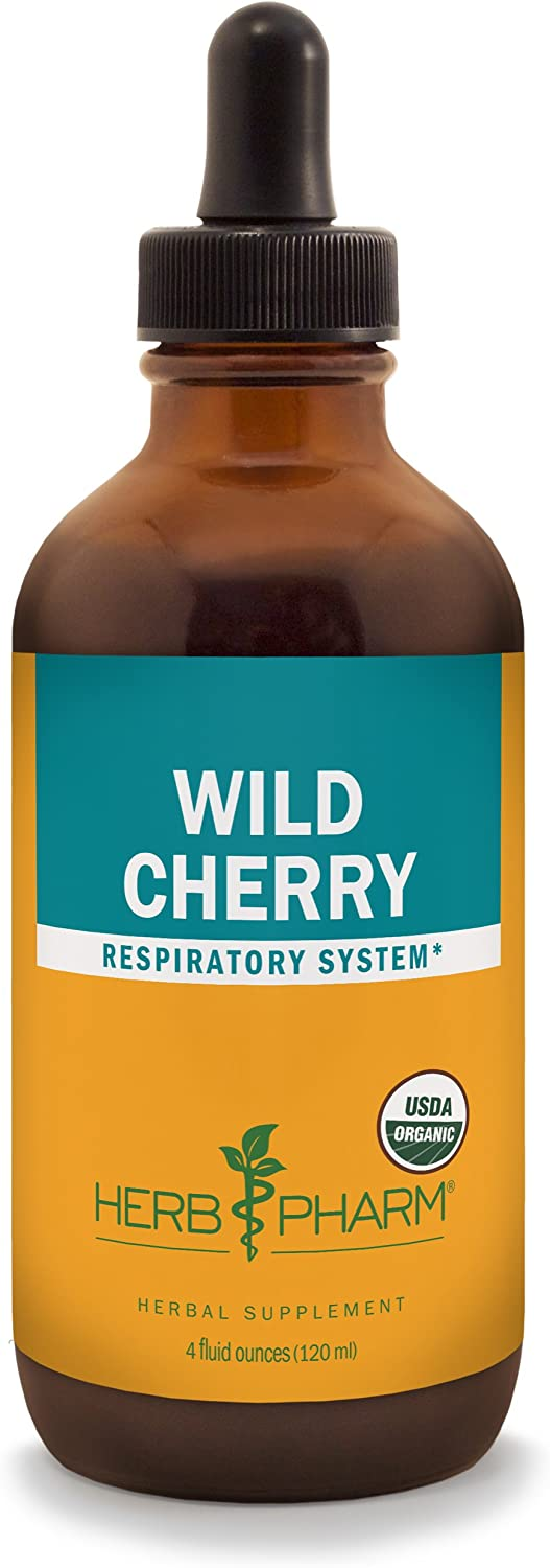 Herb Pharm Certified Organic Wild Cherry Bark Liquid Extract for Respiratory Support – 4 Ounce