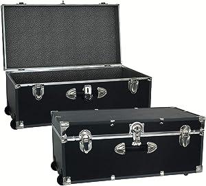 Seward Trunk 30-inch Footlocker Trunk with Wheels Black