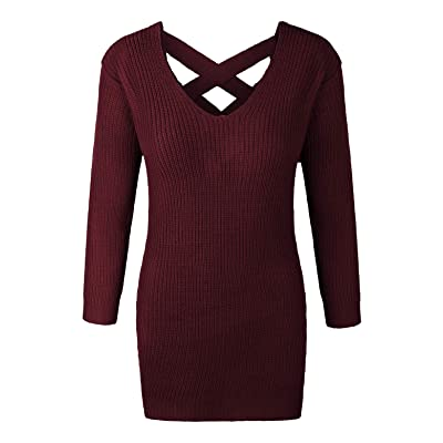 makeitmint Women's Lace Up Back Detail Wide V-Neck Long Knit Sweater [7 Colors] at Women's Clothing store