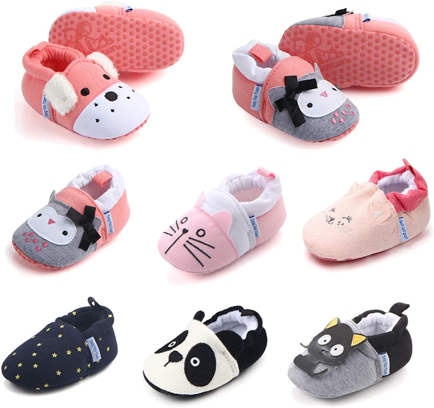 RATIVE Cotton Booties with Grippers for Baby Infant Toddler Boys Girls