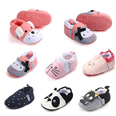 c96d6080cfbf0 Sakuracan Baby Slippers - Newborn Boys Girls House Shoes Non-Slip Soft  Socks Cartoon Moccasins Infant First Walking Stay On Shoes