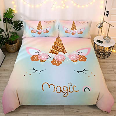DEERHOME Magic Emoji Rainbow Unicorn Bedding Girls Duvet Cover Sets with Charming Eyes Floral Feather Eyelashes Unicorn Pattern, Bedding Sets Gifts for Kids Girls(#05, Queen): Kitchen & Dining