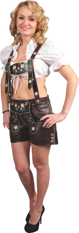 kurze Lederhose Damen- Echt Leder Nappa antik Trachten Lederhose kurz, Damen Trachtenlederhose mit Träger in Lila, Rot, Blau