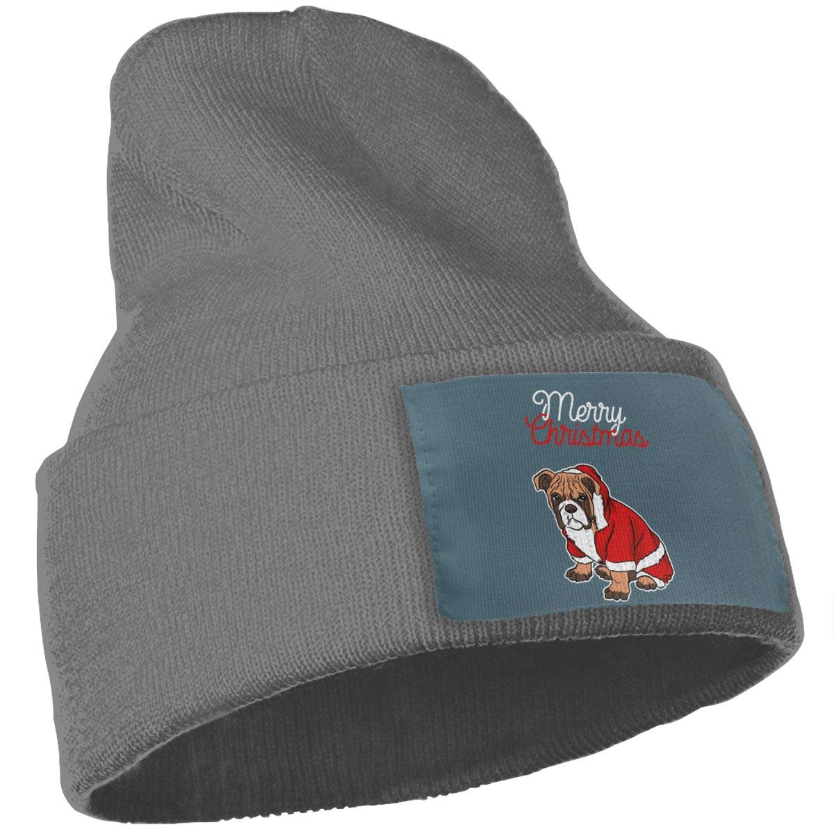 Poii Qon Merry Christmas Bulldog Beanies Hat Wool Skull Caps for Woman Man