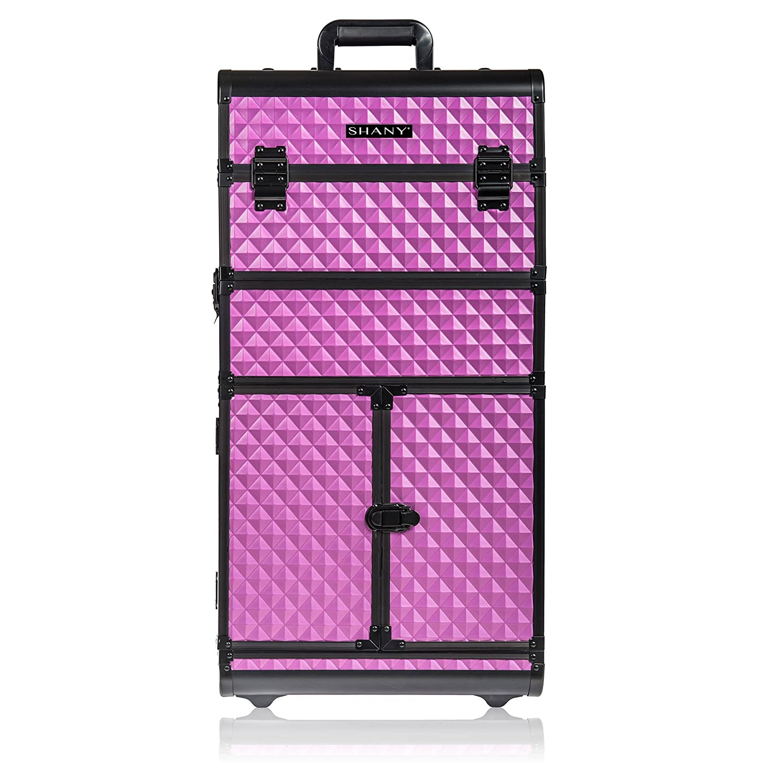 SHANY Rebel Series Pro Makeup Artists Rolling Train and Trolley Case, Charming Violet