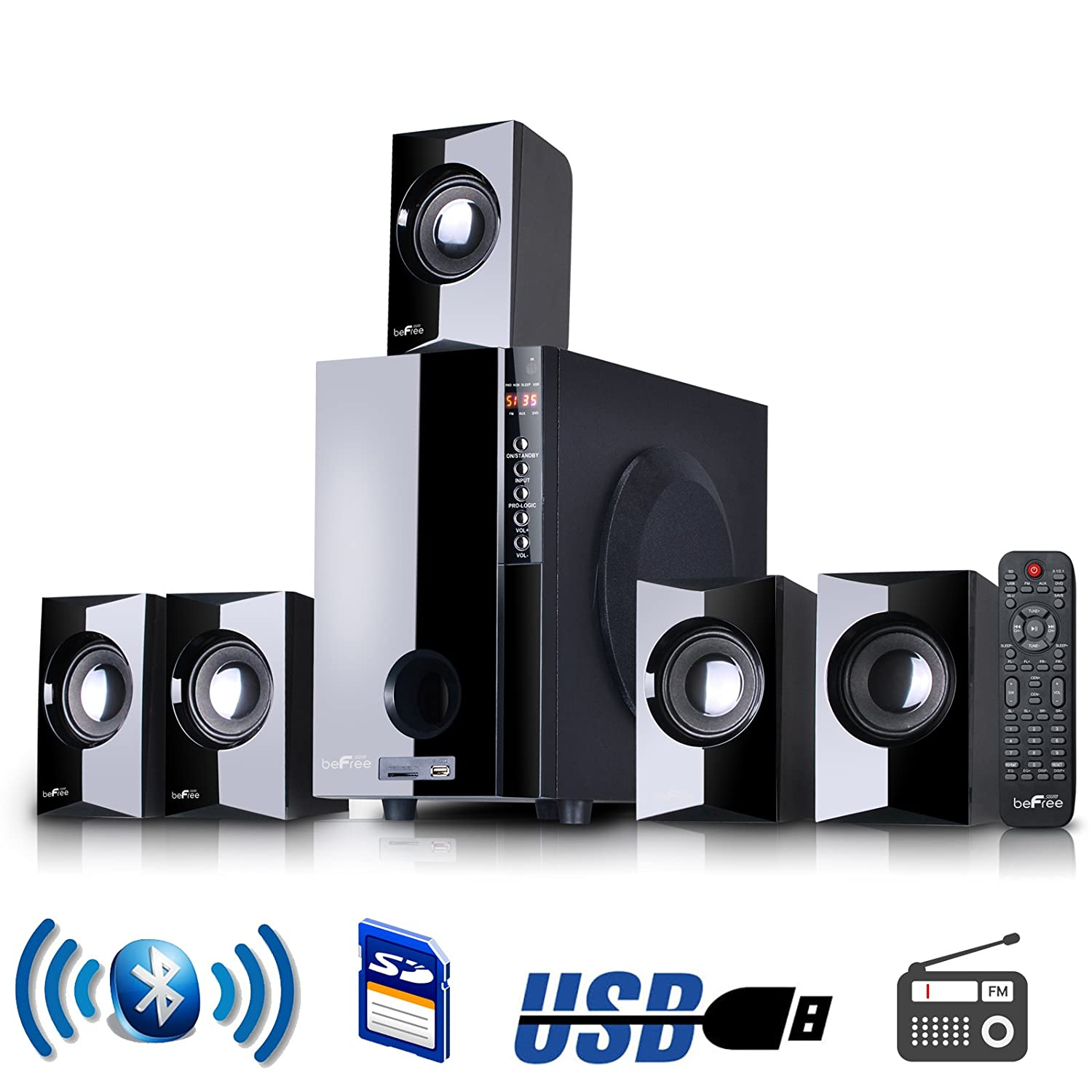 new befree 5 1 channel surround sound bluetooth home. Black Bedroom Furniture Sets. Home Design Ideas