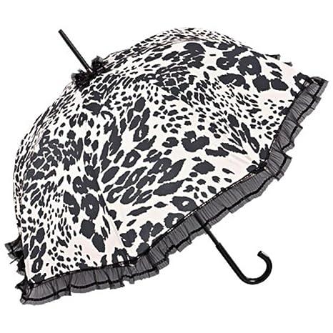 Diseñador de Chantal Thomass Señoras paraguas en blanco con manchas negras de leopardo - muy elegante