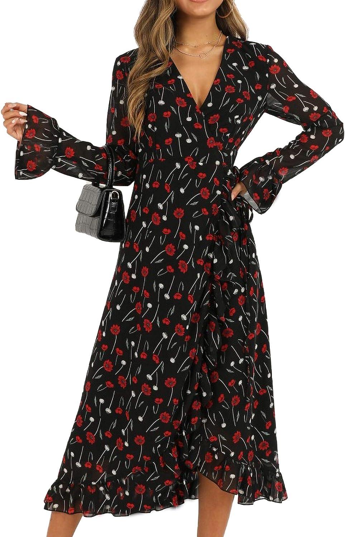Relipop Women's Dresses Floral Print V Neck Trumpet Sleeve Wrap Front Irregular Ruflle Hem Midi Dress
