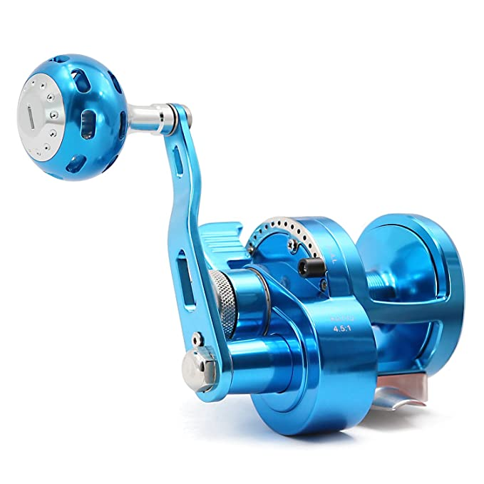 SANLIKE Jigging Fishing Reel Smooth - Trolling Fishing Reels with Alarm Bell Single/Double Speed Big Fish Reel Boat Fishing Reels Trolling Jigging Deep-Sea Fishing Max Brake Force Drag 44lb, 9BB+1