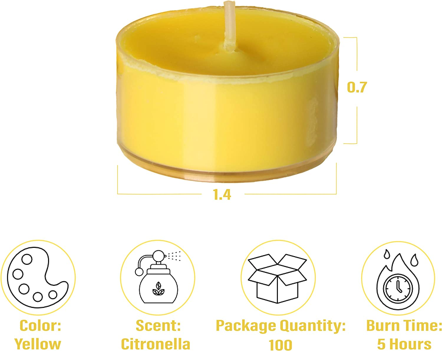 CandleNScent Scented Citronella Tealights Candles in Clear Cup Pack of 100 Made in USA