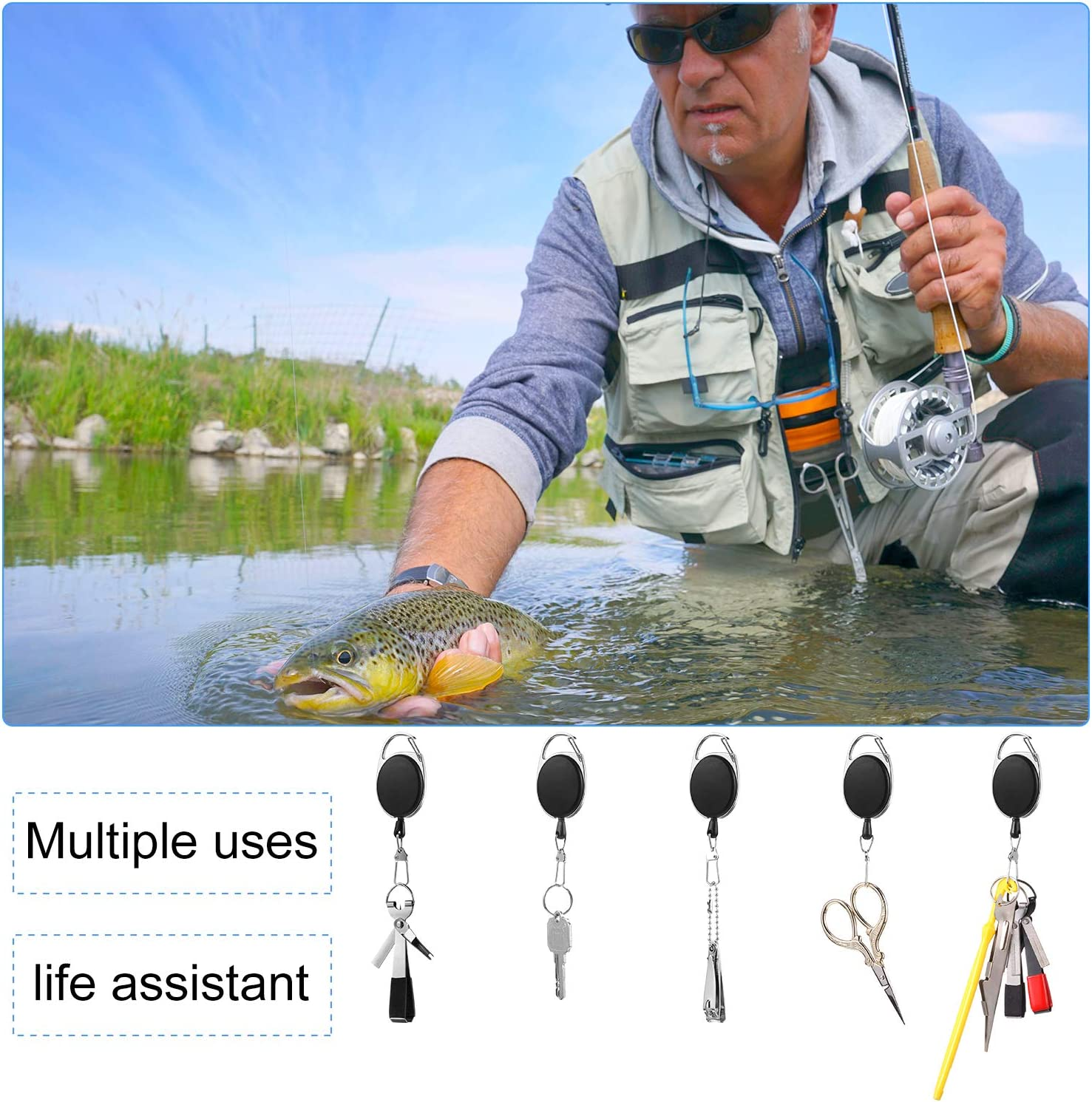 Sumind Fishing Knot Tying Tools 4 in 1 Mono Line Clipper with Fishing Zinger Retractor Fish Hook Remover Disgorger Kit for Fishing Angler Accessories Double-End Hook Disgorger