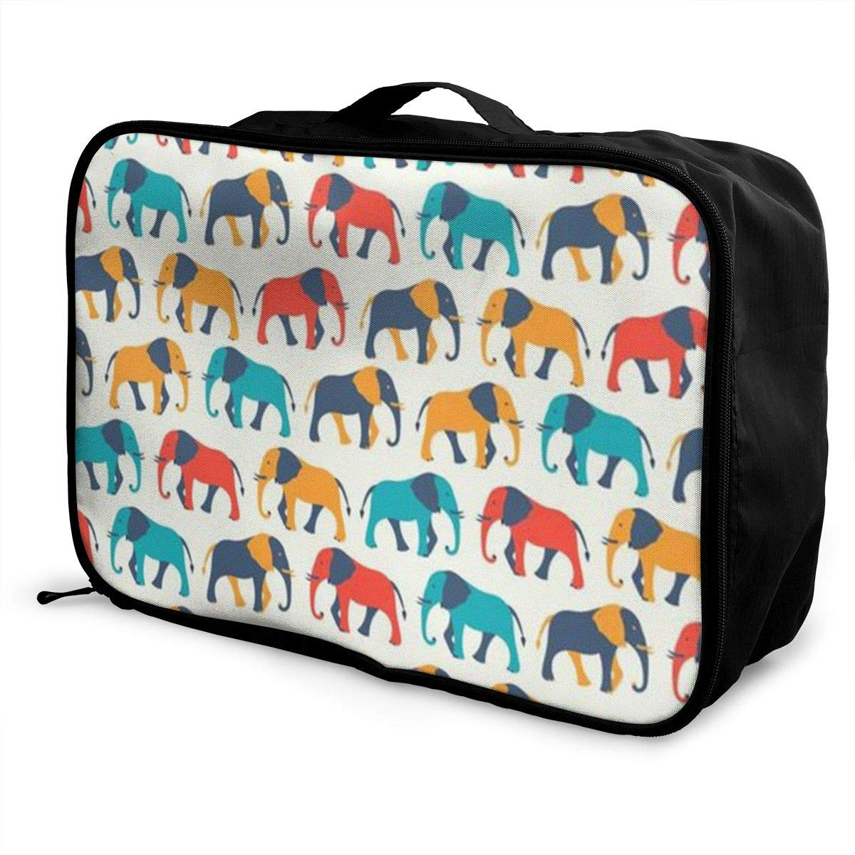Animal Color Elephant Canvas Travel Weekender Bag,Fashion Custom Lightweight Large Capacity Portable Luggage Bag,Suitcase Trolley Bag