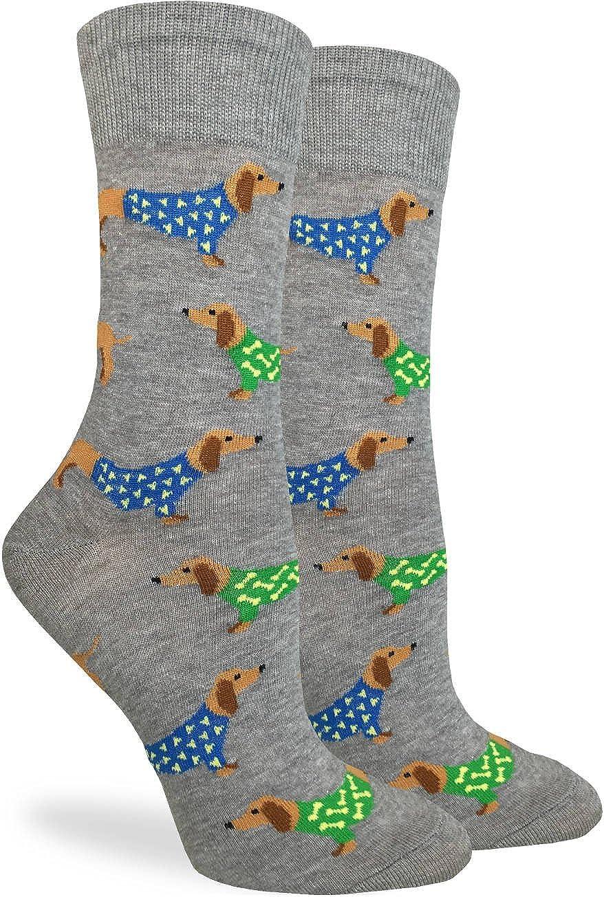 Good Luck Sock Women's Wiener Dogs Crew Socks - Grey, Adult Shoe Size 5-9