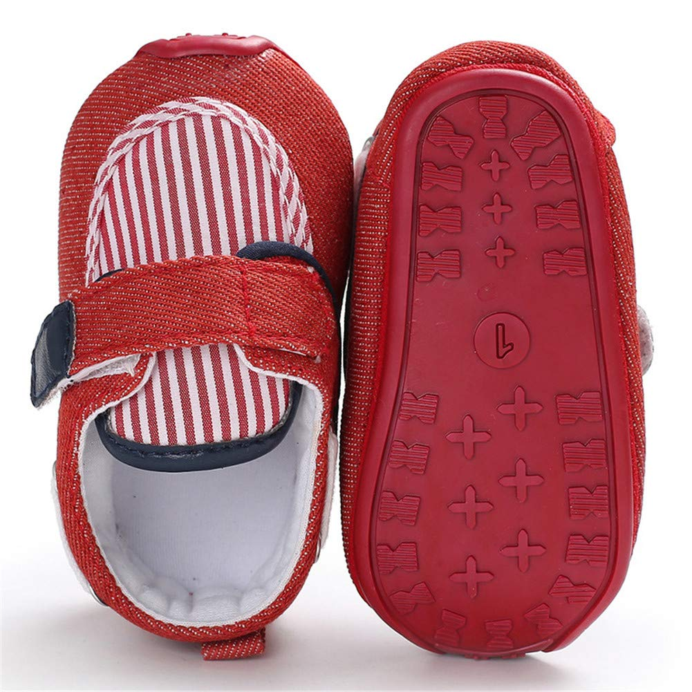UWESPRING Baby Boys Sneakers Stripe Pattern Rubber Sole with Socks