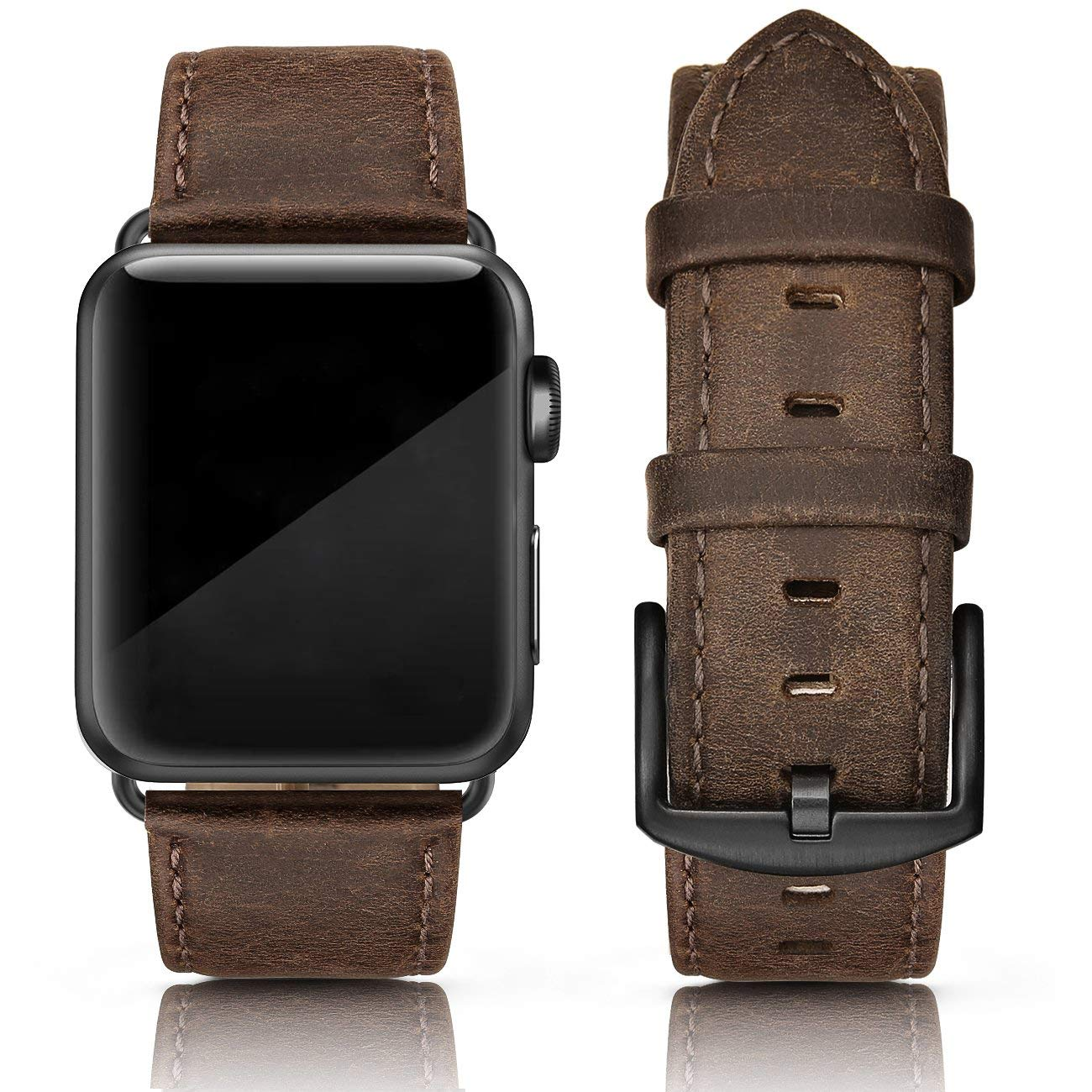 SWEES Leather Band Compatible for Apple Watch 42mm 44mm, Genuine Leather Vintage Strap Wristband Compatible iWatch Series 4, Series 3, Series 2, Series 1, Sports & Edition Men, Retro Brown by SWEES
